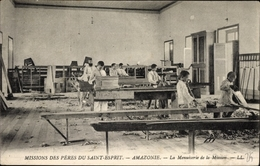 Cp Brasilien, La Menuiserie De La Mission, Tischlerwerkstatt Der Missionsschule, Kinder, LL. - Brésil