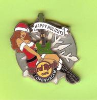 Pin's Hard Rock Café Copenhagen Happy Holidays Guitare (Double Moule) - HRC50 - Musique