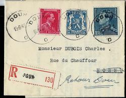 Doc. De DOUR - C - Du 13/06/42 Pour Hornu -  Avec étiquette Verso : Parti Pour L'Allemagne  En Rec. - Weltkrieg 1939-45