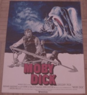 AFFICHE CINEMA ORIGINALE FILM MOBY DICK Gregory PECK WELLES John HUSTON Herman MELVILLE BALEINE DESSIN - Posters