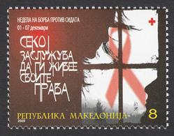 Macedonia 2009 AIDS SIDA Red Cross Croix Rouge Rotes Kreuz Tax Charity Surcharge, MNH - Macedonia