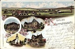 Lithographie Harriehausen Bad Gandersheim, Totalansicht, Gastwirtschaft Gustav Schlange, Schule,Kirche,Post - Allemagne