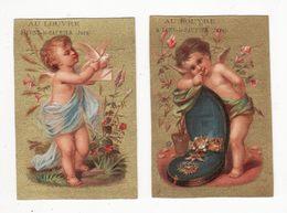 Chromo   AU LOUVRE  à Lons Le Saunier    Lot De 2    Anges, Fleurs     10.6 X 7.1 Cm - Sonstige