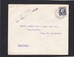 Petit Montenez  / Griffe Londres Via Anvers  : Lettre De Bruxelles Vers BURY Angleterre - 1921-1925 Petit Montenez