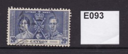 Ceylon 1937 Coronation 20c - Ceylon (...-1947)