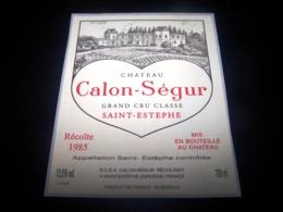 Etiquette Vin Saint Estephe Chateau Calon Segur 1985 Wine Label Grand Cru Classé - Bordeaux