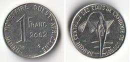 Pièce 1 Franc CFA 2002 Afrique De L'Ouest Origine Cote D'Ivoire - Côte-d'Ivoire