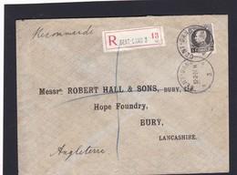 N° 214  / Lettre En Recommandé De Gand Vers Bury Angleterre - 1921-1925 Petit Montenez