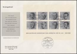 Block 3 Attentat 20.Juli 1944 Auf Einem Schmuck-FDC ESSt Bonn 20.7.64 - [7] Repubblica Federale