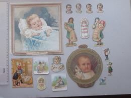 CHROMO DECOUPIS Et DECOUPAGE: Les BEBES Lot 17 Différents Même Thème - Portrait Fillette Poussette Landau Dentelle - Kinder
