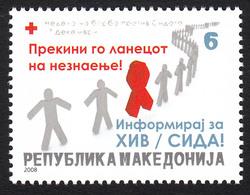 Macedonia 2008 AIDS SIDA Red Cross Croix Rouge Rotes Kreuz Tax Charity Surcharge, MNH - Macedonia