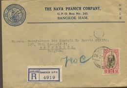 Lettre Recommandée Bangkok Vers Belgique 1947. Avec Le Roi Du SIAM - Siam