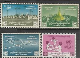 Burma  1956    Sc#159, 161-62  3 Diff   MNG & 1961 #167  MLH   2016 Scott Value $5.30 - Myanmar (Burma 1948-...)