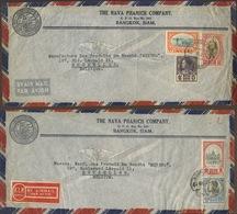 2. Lettres Avion Bangkok Vers Belgique 1948.  Fine Condition - Siam