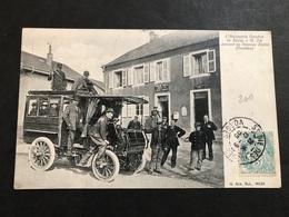 Cpa 1900/1920 L'automobile Omnibus Passant Au Nouveau Saales En Noir Et Blanc - France