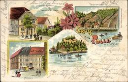 Lithographie Polle An Der Weser In Niedersachsen, Gasthaus C. Stapel, Teufelsmühle, Amtshaus, Burg - Allemagne