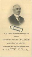 Hector-Frans Du Bois : Lebbeke 1875 - Oudegem 1949        ( See Scans ) - Andachtsbilder