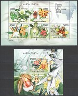 UC212 2011 UNION DES COMORES ORCHIDS FAUNE FLORE MINERAUX LES ORCHIDEES 1KB+1BL MNH - Orchidées