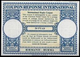 BIRMANIE BURMA Lo16n 50 PYAS Very Rare International Reply Coupon Reponse Antwortschein IRC IAS Mint ** - Myanmar (Birmanie 1948-...)