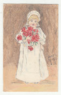Thaller Illustration - Girl With Flowers Old Unused Postcard B200601 - Gruppi Di Bambini & Famiglie