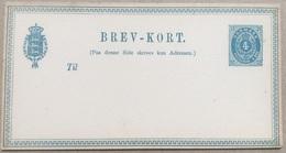 DENMARK 1870`s Stationary Card Brev-Kort 4 Ore Blue Unused - 1864-04 (Christian IX)