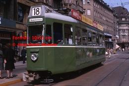 Reproduction Photographie D'un TramwayB.V.B Ligne 18 Neuweilerstrasse Avec Publicité Mary Longà Bâle En Suisse 1965 - Reproductions