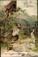 Gaufré Cp Glückwunsch Ostern, Junge Beim Gebet, Osterhasen, Ostereier - Pâques