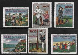 Deutsches Reich Lot Koch Harmonikas Vignet Werbemarke Cinderella Advertisement Label Harmonica Music - Fantasy Labels