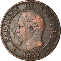 Monnaie, France, Napoleon III, 2 Centimes, 1855, Marseille, TB+, Gad 103 - Francia