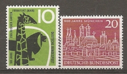 BDP 1958 Yv N° 159,160  Mi N° 288,289  ** MNH Zoo, Munich  Cote  1,4 Euro TBE - Nuovi