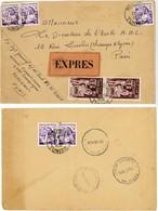 PNEUMATIQUE TUNISIE ENV 1956 MIDENINE FRANCHISE PARTIELLE LETTRE EXPRES ACHEMINEMENT PRIS PAR PNEUMATIQUE VOIR LES SCANS - Tunesien (1956-...)