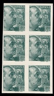 Espagne YT N° 667 En Bloc De Six Timbres Non Dentelés Neufs ** MNH. TB. A Saisir! - 1931-50 Ungebraucht