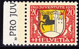 1930 20 Rp Schaffhauser Wappen Abart Fehlender Grün-Druck. Postfrisches Bogenrandstück. Mit Foto-Attest - Unused Stamps
