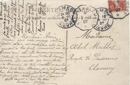 """Cachet Convoyeur """"Nevers A Clamecy 1907"""" Semeuse Indice=2   Cp Fontainebleau 2 Scans - Postmark Collection (Covers)"""