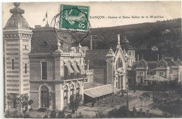"Cachet Convoyeur ""Lyon A Belfort 1912"" Semeuse Indice=3 Frappe Superbe Cp Besançon Casino - Postmark Collection (Covers)"