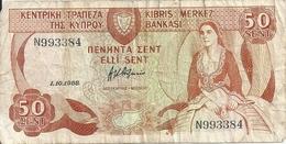CHYPRE 50 CENTS 1988 VG+ P 52 - Chypre
