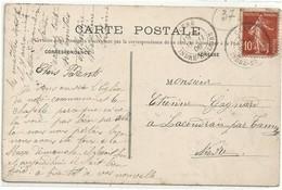 "Cachet Convoyeur ""Tours A Agen 2° 1912"" Semeuse Indice=2 Cp Montoire - Postmark Collection (Covers)"