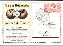 1937 Karte Tag Der Briefmarke, Mit Knabenkopf Mit Retouche. Bern Nach Luzern - Covers & Documents