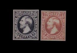 ***REPLICA*** Of Luxembourg 1852 , 10c Black & 1sg Carmine, Sc 1 And 2 - 1852 William III