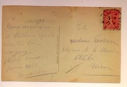"""Cachet Ambulant """"Millau A Béziers 1927"""" Semeuse Indice=2 Cp Frappe Superbe Séverac Le Chateau - Postmark Collection (Covers)"""