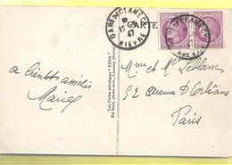 """Cachet """"gare De Clamecy 1947"""" Mariane De Mazelin  Frappe Superbe Cp Clamecy 2 Scans - Postmark Collection (Covers)"""