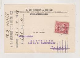 AUSTRIA 1918 WIEN Perfin SCHEMBER & SOHNE Postcard - Briefe U. Dokumente