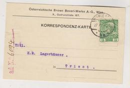 AUSTRIA 1914 WIEN Perfin OSTERREICHISCHE BROWN BOVERI_WERKE A.G. Postcard - Briefe U. Dokumente