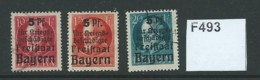 Bavaria 1919 War Wounded Fund 3 Values Complete (15pf MM) - Bayern