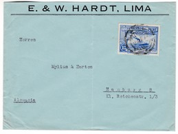 "M655 Peru Letter Lima To Hamburg, With Mi 346 Mailship ""Inca"" On Lake Titicaca Stamp - Perú"