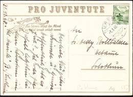 1949 Juventute Karte L. Rossi  Die Wiege. Stempel Sursee Nach Solothurn. Zustzaufdruck Für Schmerzmittel Allonal. - Covers & Documents