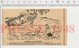 Presse 1948 Humour Accident D'auto Sommeil Au Volant Homme Qui Ronfle Voiture Ancienne Métier Chauffeur 198PF48 - Unclassified