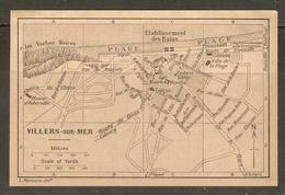 CARTE PLAN 1927 - NORMANDIE VILLERS Sur MER - CASINO VILLA De La PLAGE LES VACHES NOIRES MANOIR D'AUBERVILLE - Cartes Topographiques