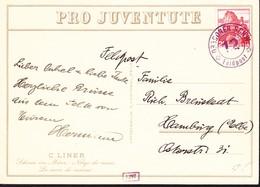 1928 Juventute Karte Schnee Im März, C. Liner Mit Feldpost Gelaufen Nach Hamburg. Ecken Minim Gestossen. - Covers & Documents