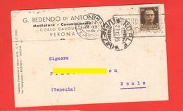 Verona Cartolina Commerciale Vendita Cereali 1935 Per Noale Venezia - Negozi